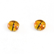 8mm Dragon Glass Eyes Pair of Golden Fantasy Crafting Supply Flatback Cabochons for Doll Taxidermy or Jewellery Making