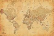 World Map Vintage Style Longitude Latitude Earth Atlas Poster - 18x12