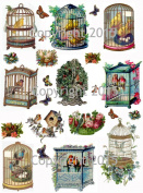 Vintage Victorian Birdcages Collage Sheet Art Images for Decoupage, Scrapbooking, Jewellery Making