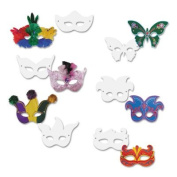 Die Cut Mardi Gras Masks, Paper, 6 Styles, 9 x 4, White, 24/Pack, Sold as 24 Each