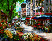 Wooden Framed Paint By Number No Blending / No Mixing Linen Canvas DIY Painting - Morning Town