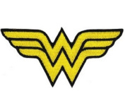 Wonder Woman Iron On Patch - WW Yellow Letter Name Logo Applique
