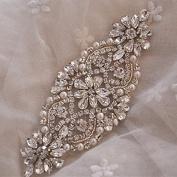Rhinestone and pearl beaded applique for bridal sash, wedding headband, garters Bridal Belts Ivory, ~RA014 White Ribbon