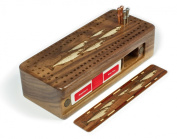 Fish- Salmon- Trout Engraved Wooden Cribbage Board with Quality Metal Pegs and Deck of Cards