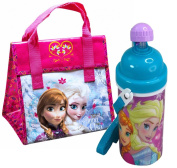 Disney Frozen Kids Resuable Lunch Bag Plus Frozen Canteen with Popup Lid and Strap! Featuring Queen Elsa & Princess Anna!