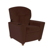 Dozydotes Child Recliner with Cup Holder Chocolate Micro Suede DZD13100