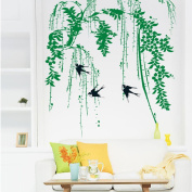 Fange DIY Removable Weeping Willow and Swallows Art Mural Vinyl Waterproof Wall Stickers Living Room Decor Bedroom Decal Sticker Wallpaper 90cm x 60cm