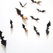 Amaonm® 60 Pcs 5 Packages 3d Removable Diy Black Horrible Bat Wall Decals Stickers Murals Home Art Decor for Kids Bedroom Halloween Wall Decorations