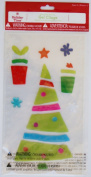 Holiday Time Colourful Christmas Tree Window Clings