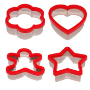 Stately Kitchen's Soft Grip Large 7.6cm Cookie Cutters Set of 4 Ginger Bread Man, Heart, Star and Flower Shapes