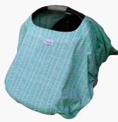 Sprout Shell 4-in-One Infant Car Seat Cover, Aqua/White