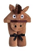Yikes Twins Child Hooded Towel - Brown Horse