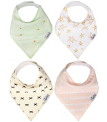 Baby Bandana Drool Bibs for Girl Paris 4 Pack of Unisex Modern Cotton Bibs Baby Gift Set By Copper Pearl