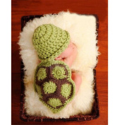 Ubesta Newborn Baby tortoise hat Infant Knit Sweater Crochet photography prop hat Outfit-Green