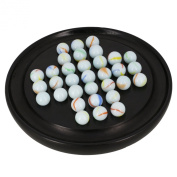 Handmade Indian Wooden Solitaire Game with Glass Marbles - Unique Gifts for Adults