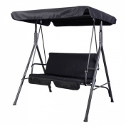 Goplus® Patio Swing Outdoor Canopy Awning Yard Furniture Hammock Steel Black 2 Person