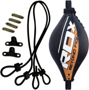 RDX Double End Bag Leather Boxing Floor to Ceiling Rope MMA Training Muay Thai Punching Dodge Striking Speed Ball Kit Workout Adjustable Bungee Cord