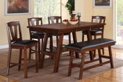 Poundex F2273 & F1333 & F1334 Walnut Table & Chairs/Bench Counter Dining Set