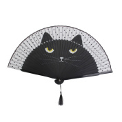 Tinksky Women Cartoon Cat Folding Silk Fan Handheld Fan