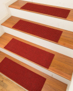 NaturalAreaRugs Halton Carpet Stair Treads with Peel and Stick Strips Rug (Set of 13), 23cm x 70cm , Red