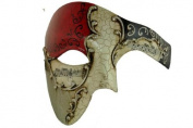 Gold Lining RED Musical Half Face Venetian Masquerade Mask Phantom Design for Men