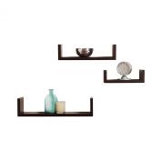 Adorox Elegant Floating U Shape Shelves Walnut Brown Finish (Set of 3) Modern Home Decor