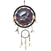 Wolf Dream Catcher 33cm with Real Feathers