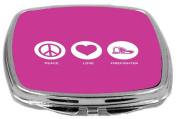 Rikki Knight Peace Love Firefighter Design Compact Mirror, Rose Pink, 60ml