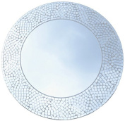 Lulu Decor, Silvershine Mosaic Wall Mirror, Decorative Round Wall Mirror, Diameter 60cm , Mirror Measures 38cm , Perfect for Housewarming Gift