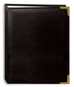 Pioneer Photo Albums 100-Pocket Black Sewn Leatherette Cover with Brass Corner Accents Photo Album, 10cm by 15cm