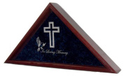 "Flag Display Case w/ Cross, Dove & ""In Loving Memory"" - for 1.5mx2.9m burial / coffin / casket flag - cherry stain - INCLUDES 2 LINES OF TEXT PERSONALIZATION!"