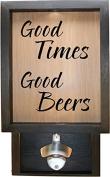 Wooden Shadow Box Bottle Cap Holder 23cm x 38cm with Bottle Opener - Good Times Good Beers