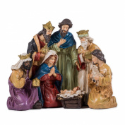 Resin Hand-Painted Decorative Christmas Nativity with Holy Family and Wise Men Figurine - Size 20cm x 25cm