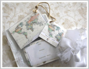 100 World Map Luggage Tag Favours ivory $1.25 ea.