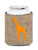 Caroline's Treasures BB1001-BL-OR-CC Giraffe Burlap and Orange Can or Bottle Koozie Hugger, Multicolor