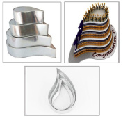 4 TIER TEAR DROP MULTILAYER BIRTHDAY WEDDING ANNIVERSARY CAKE PANS / TINS 15cm 20cm 25cm 30cm