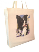 Border Collie Flowers Reusable Cotton Shopping Bag Tote with Spacious Gusset and Shoulder Length Handles Perfect Gift