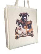 Boxer Puppy Breed of Dog Reusable Cotton Shopping Bag Tote with Gusset and Long Handles