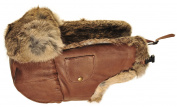 Mad Bomber Leather Bomber Cap with Real Fur