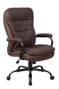 Boss Office Products LeatherPlus Heavy Duty Double Plush Chair, 160kg, Traditional
