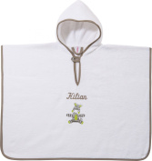Kinderbutt Poncho with name embroidery terry weiss size 55x75 cm
