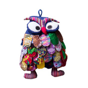 Ethnic Style Handmade Special Kids Backpack Pretty Owl Whimsical Backpack Blue