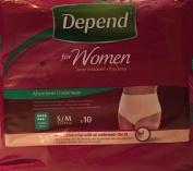 THREE PACKS of Depend For Women Absorbent Underwear Super Small/Medium 10 Pants