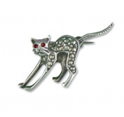 Brooches - Silver Stretching Cat Brooch