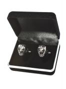 Velvet Box - Silver Iron Man Super Hero Design Cufflink Men's Jewellery Shirt Cuff Link Fashion Party Wedding Gift