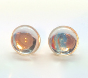Vintage sliver clear crystal glass mirror shine stud earrings with sterling silver 925 posts and backs - hand-made in East Sussex, England