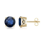 Vintage Inspired Four-Prong Blue Sapphire Stud Earrings