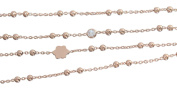 Hobra Gold 80 CM LONG FINE CHAIN NECKLACE ROSE Gold PLATED CUBIC ZIRCONIA FLOWER U CHAIN