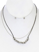 Two faces beyoutifulthings Women's Necklace Stainless Steel Silver Black CZ behängt Thread length
