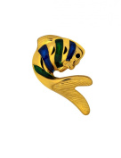 Gold Plated Blue Green Enamel Fish Pin Brooch